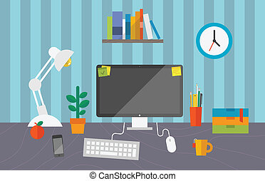 Vector illustration of routine organization of business workspace in the office.
