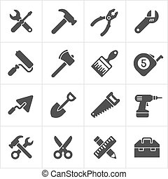 Working Tool and instrument icons white. Vector design element