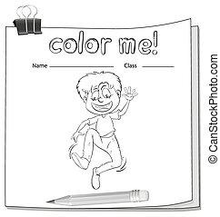Worksheet showing a boy