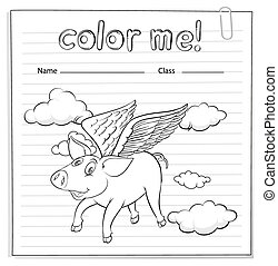 Worksheet with a pig