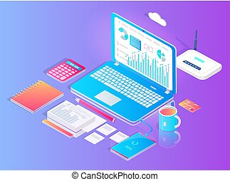 Workspace with Laptop and Wifi Router Vector Set