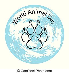 World Animal Day. 4 October. Concept of an ecological holiday. Animal track and planet Earth