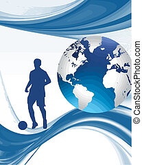 footballer stood with globe and abstract background