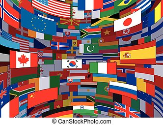 World Flags Backdrop. Background Vector