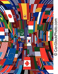 World Flags Backdrop. Political Vector Background