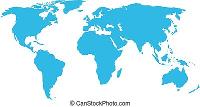 World map blue on a white background. Vector illustration