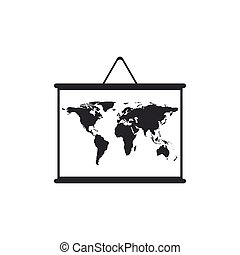 World map on a school blackboard icon isolated. Drawing of map on chalkboard. Flat design. Vector Illustration