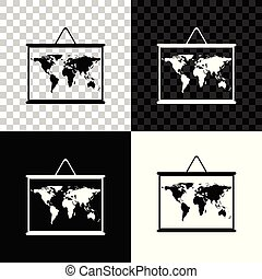 World map on a school blackboard icon isolated on black, white and transparent background. Drawing of map on chalkboard. Vector Illustration