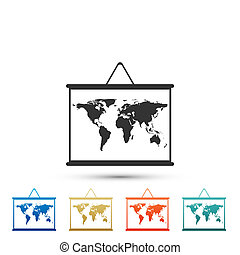 World map on a school blackboard icon isolated on white background. Drawing of map on chalkboard. Set elements in colored icons. Flat design. Vector Illustration