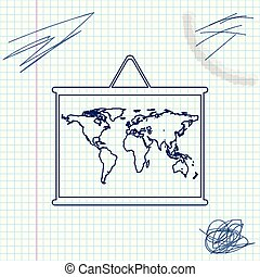 World map on a school blackboard line sketch icon isolated on white background. Drawing of map on chalkboard. Vector Illustration