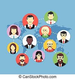 Worldwide communication. Social network, communication technology, global internet connection concepts. Modern flat design vector illustration