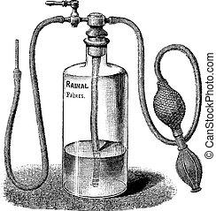 Wound Irrigator, vintage engraved illustration. Usual Medicine Dictionary by Dr Labarthe - 1885