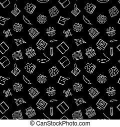 Writer vector seamless pattern on dark background