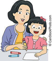 Illustration of a Mother Teaching Her Daughter How to Write