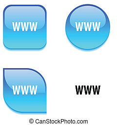 WWW glossy vibrant web buttons.