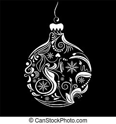 Vector picrture of white silhouette of christmas ball on black background