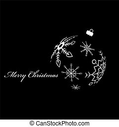 White silhouette of christmas ball