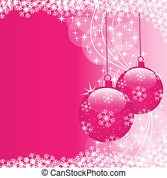 Christmas scene with hanging ornamental pink xmas balls, snowflakes and stars. Copy space for text.