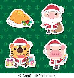 xmas cute cartoon set