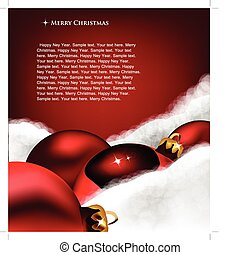 Xmas greeting card. Christmas toy on Cotton wool