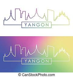 Yangon skyline. Colorful linear style.