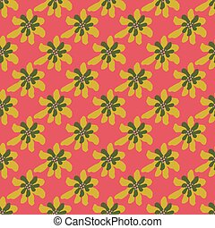 Yellow and green colored simple flowers seamless pattern on bright pink background.