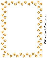 Yellow animal paw prints border.