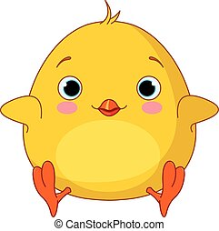 Illustration of very cute fat chick
