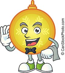 Yellow christmas ball character on a stylized waiter look.