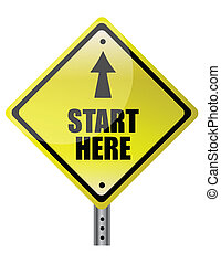 Yellow Diamond start here with up arrow sign isolated on a white background