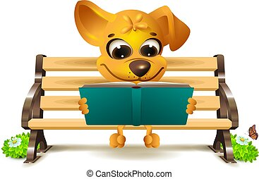 Yellow dog sits on bench and reads book. Vector 3d illustration