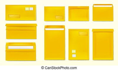 Yellow envelopes with stamps. Blank paper covers