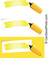 Illustration of a yellow felt tip pen highlighting background paper for your advertisement sign