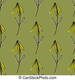 Yellow flower seamless pattern in hand drawn style. Botanic backdrop with olive pale background.