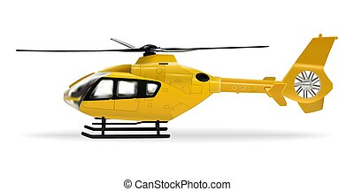 Yellow helicopter. Passenger civilian helicopter. Realistic object on a white background. Vector illustration.