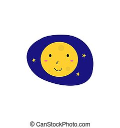 Yellow Kids smiling Moon, on blue