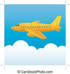 Yellow plane on a background of blue sky and white clouds. Cartoon style. Vector