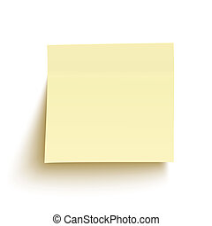 Yellow sticky note isolated on white background. Vector illustration