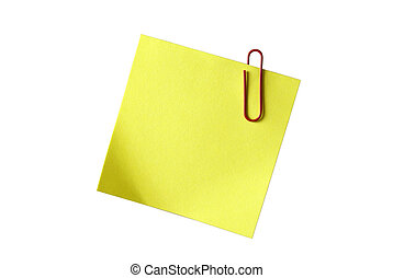 Yellow sticky notepaper with red paper-clip isolated on white. Empty space for your design or text.