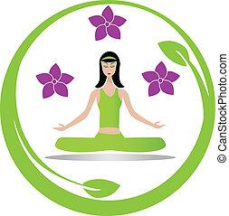 Yoga meditation girl logo vector