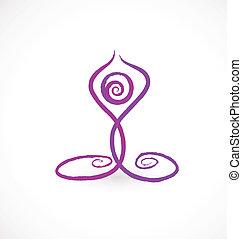 Yoga swirly pose icon vector