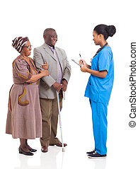 young african medical nurse and elderly couple patient