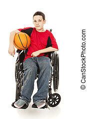 Teenage athlete in a wheelchair, holding his basketball. Full body isolated on white.