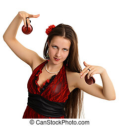 Young beautiful girl with castanets - dancer