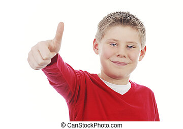 Young boy giving you thumb up