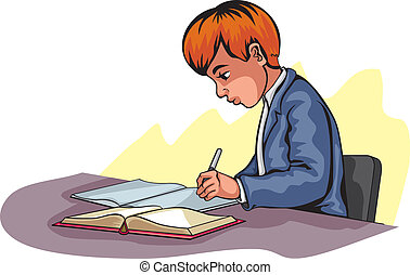 Vector illustration of a young boy writing