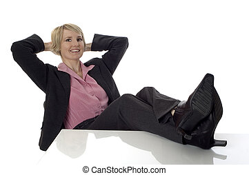 young business women sitting and relaxing on white