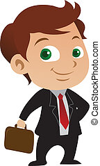 Young businessman cartoon posing with a briefcase