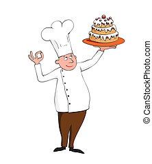 young chef with a cake on white