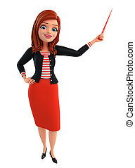 Illustration of corporate lady with stick